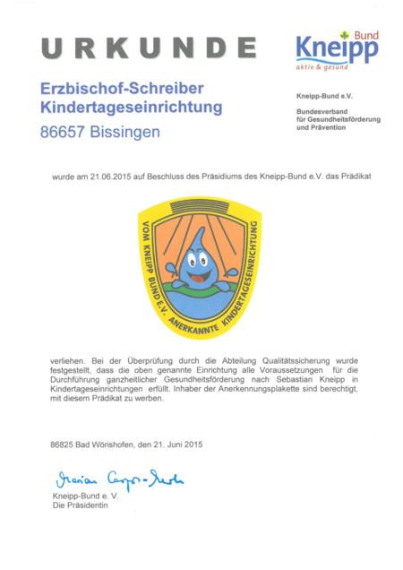 40 Jahre Jubiläum und Kneipp-Zertifizierung Kita Bissingen ...